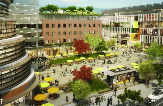 A rendering of the Bergamot Village project proposed by Hines for 1681 26th Street in Santa Monica.