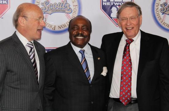 Hall of Fame second baseman Joe Morgan and MLB Commissioner Bud Selig (right) at the Pro Baseball Scouts Foundation's 11th Annual 'In the Spirit of the Game' gala at the Hyatt Regency Century Plaza Hotel on Jan. 18.