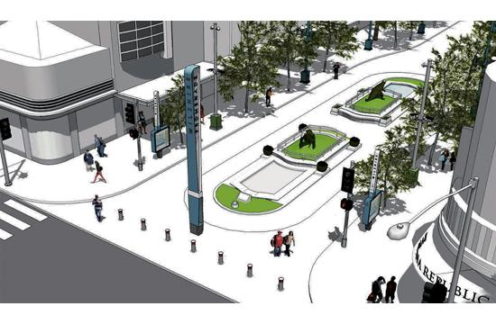 A rendering of the 32-foot pylon that will be installed at the north end of the Third Street Promenade at Wilshire Boulevard.