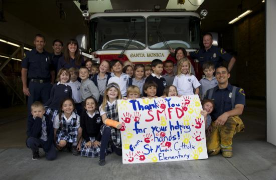 St. Monica Catholic Elementary first grade students visited their local fire station on Friday at 1444 7th Street