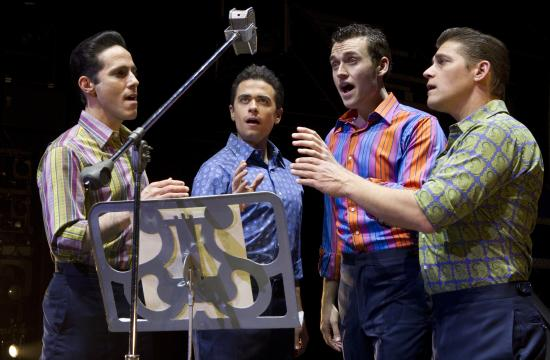 """Jersey Boys"" stars Santa Monica native Jeff Leibow (far left) at Paris Las Vegas. The other leads are Graham Fenton"