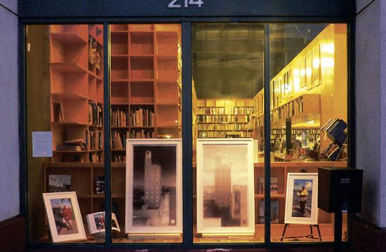 The drawings of the Santa Monica Clock Tower in the window front of Hennessey and Ingalls Art and Architecture Bookstore.
