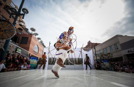 Cirque du Soleil's 'Totem' performers took to the Third Street Promenade on Thursday to show off their skills - and what visitors to the Big Top Tent can expect at the show.
