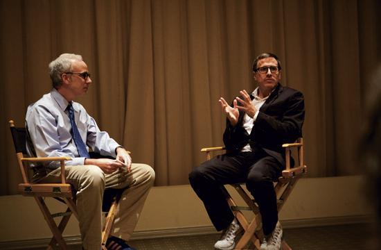 "LA Times movie writer Glenn Whipp (left) interviews filmmaker David O. Russell at a previous Vidiots Foundation discussion and screening of the movie ""Silver Linings Playbook."""