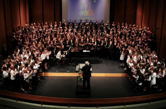 The Stairway of Stars choir concert was held Friday night at Barnum Hall. A band concert will be held Tuesday