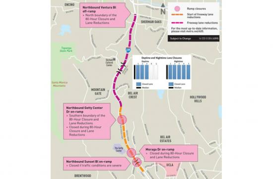 This map shows which lanes will be closed during daytime and nighttime hours for 'Jamzilla.'