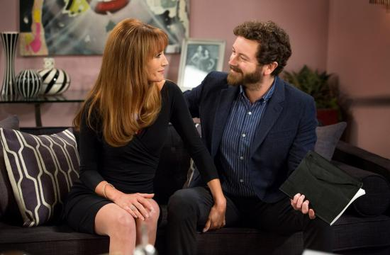Jane Seymour guest stars on tonight's episode of 'Men at Work.' She is pictured alongside Danny Masterson who plays Milo.
