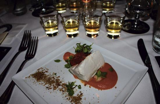 The tequila-pairing dinner began with the Coconut Poached Pescado Blanco with chipotle carrot puree.
