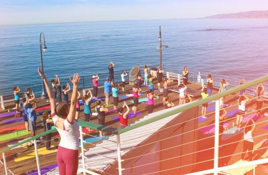 Enjoy yoga at 9 am at the west end of the Santa Monica Pier on Saturdays over the next six weeks.