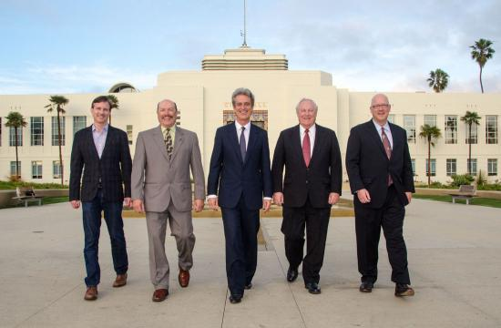Bobby Shriver (center) joined by Santa Monica City Council members Terry O'Day (from left)