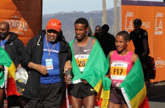 Winners of the LA Marathon's Elite Division were Ethiopian runners Gebo Buka and Amane Gobena.