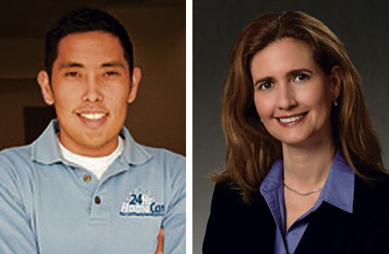 Left: Ryan Iwamoto is co-founder and chief marketing officer of Culver City-based 24Hr HomeCare. Right: Yesenia Vallejo Monsour is Director of Public Affairs and Brand Communications for Kaiser Permanente's West Los Angeles Medical Center.