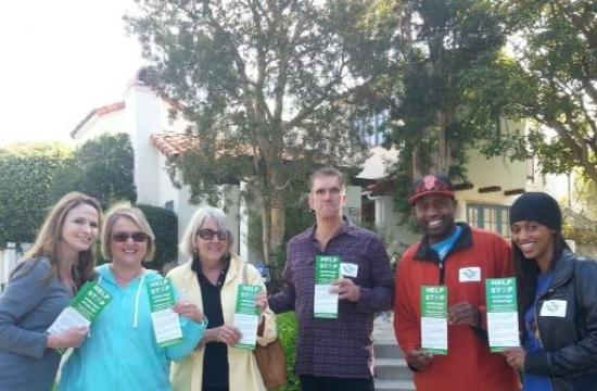 Members of the Westside Impact Coalition in Santa Monica take to the streets in anticipation of St. Patrick's Day celebrations
