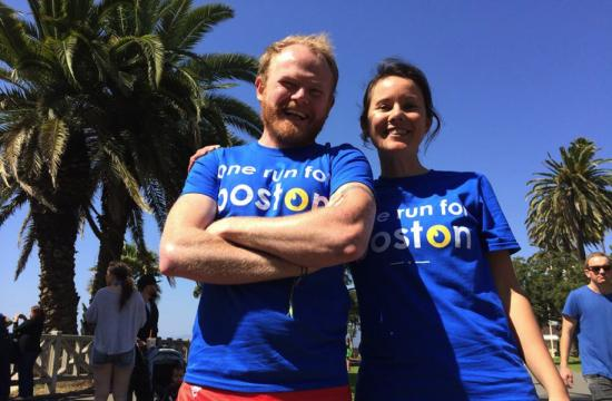 One Run for Boston participants Danny and Kate at Palisades Park on Sunday.