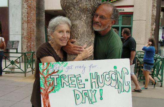 Santa Monica Tree Hugging Day organizer Jerry Rubin and his wife Marissa.