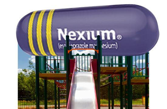 The giant reproduction of a Nexium capsule will be all metal and bear the compelling purple paint with three gold stripes that has become synonymous with acid reflux relief.