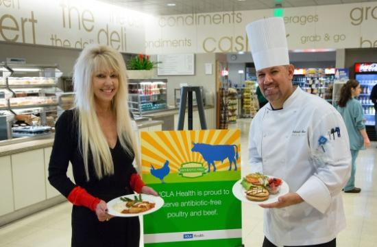 UCLA Health System's Patricia Oliver and Chef Gabriel Gomez with antibiotic-free menu items.