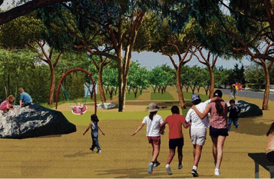 A rendering of the new park to be constructed along Exposition Boulevard at Stewart Street