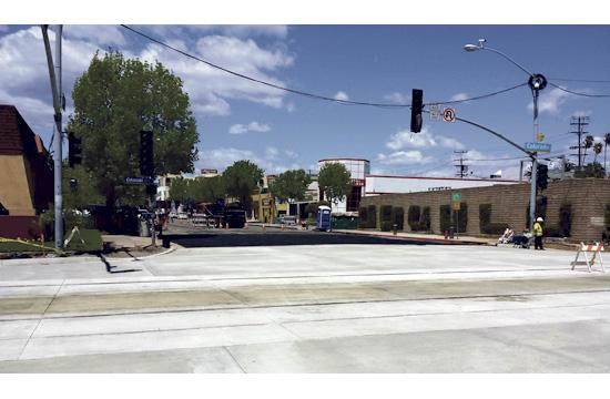The Expo Line rail installation was recently completed at the intersection of Colorado and Lincoln.