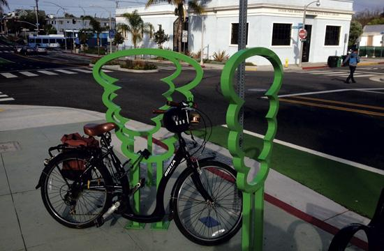 Artist-designed bicycle rack by Jody Zellen.