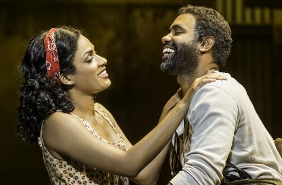 """Alicia Hall Moran as Bess and Nathaniel Stampley as Porgy in the American Repertory Theater's production of """"The Gershwins' Porgy and Bess"""" on stage at the Ahmanson Theatre."""
