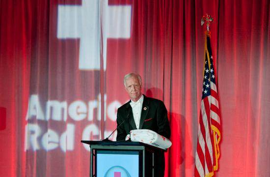 """Captain Chesley B. """"Sully"""" Sullenberger received the Spirit of the Red Cross award in Santa Monica on Saturday night."""