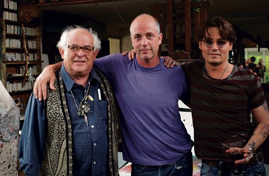 "Ralph Steadman (left) with ""For No Good Reason"" director Charlie Paul and Steadman's close friend Johnny Depp who has a major presence in the documentary."