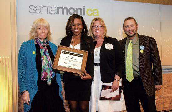 JW Marriott Santa Monica Le Merigot's front desk manager Jessica Mahone was honored with the Thelma Parks Tourism Spirit Awards at the 5th annual Travel and Tourism Summit on Friday. Pictured from left: Santa Monica Chamber of Commerce President Laurel Rosen