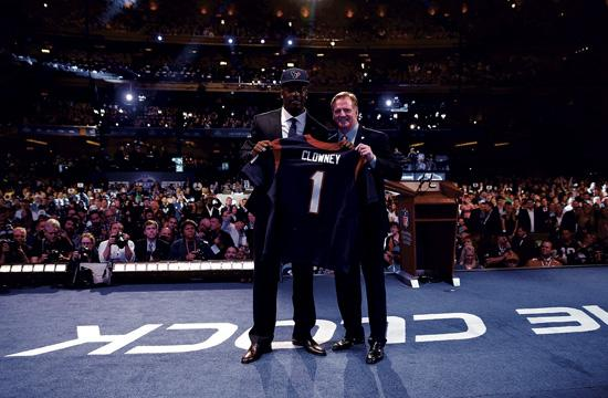 Top Pick Jadeveon Clowney with Roger Goodell at the 2014 NFL Draft on May 8 at New York's Radio City Music Hall.
