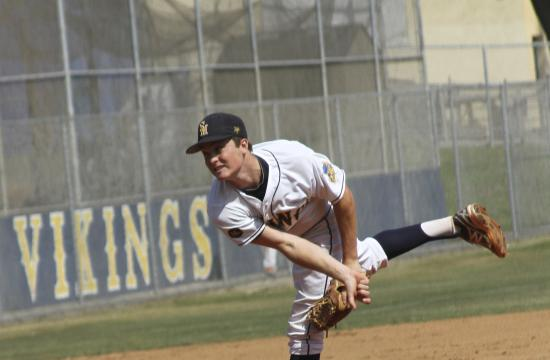 Santa Monica High pitcher Alex Gironda pitches a no-hitter against West Covina in the Vikings' 5-0 CIF Southern Section Division III first round playoff game.