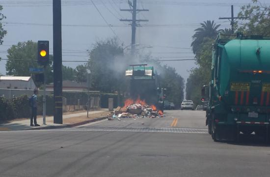 A Santa Monica resident snapped this photo of the garbage truck on fire on Tuesday.