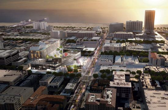 A rendering of the development proposed for Arizona Avenue in Santa Monica returns to City Council for discussion on Tuesday.
