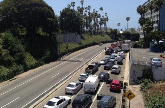 The 10 Freeway at a standstill heading west towards the McClure Tunnel in Santa Monica.