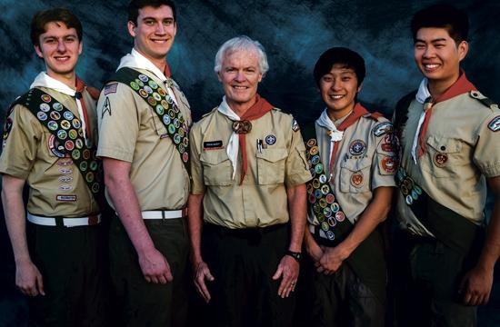 The four young men from Troop 2 BSA Santa Monica who have achieved Eagle Scout ranks