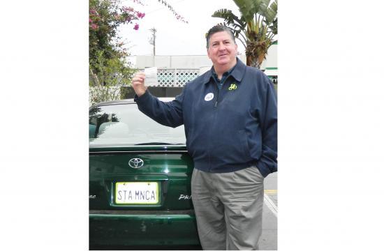 Santa Monica Councilman Kevin McKeown has his car washed at Bonus Car Wash