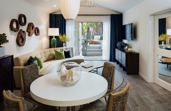 The newly redesigned Bungalow One at the Fairmont Miramar is a customized three-bedroom suite for those seeking a contemporary beachside oasis.