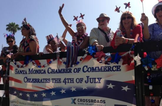 The Santa Monica Chamber of Commerce in their colorful July 4 entry.