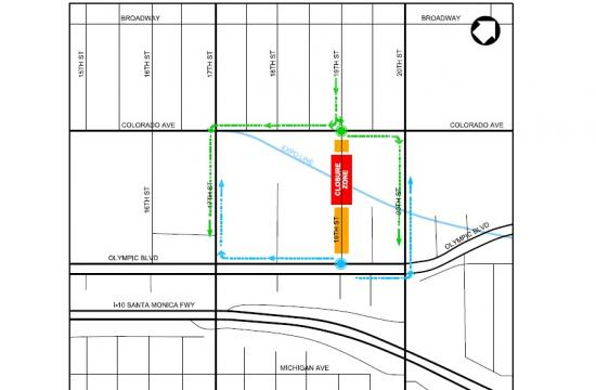 Southbound 19th Street traffic will be detoured at Colorado Avenue while northbound 19th Street will be detoured at Olympic Boulevard.