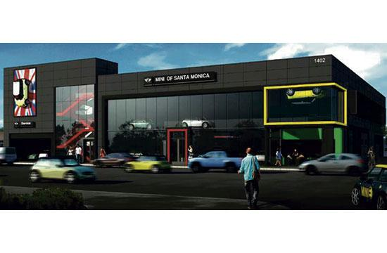 A rendering of the MINI dealership that will bring a 35-foot high building to 1402 Santa Monica Boulevard.
