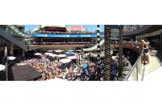 Santa Monica Place during the World Cup final on Sunday.