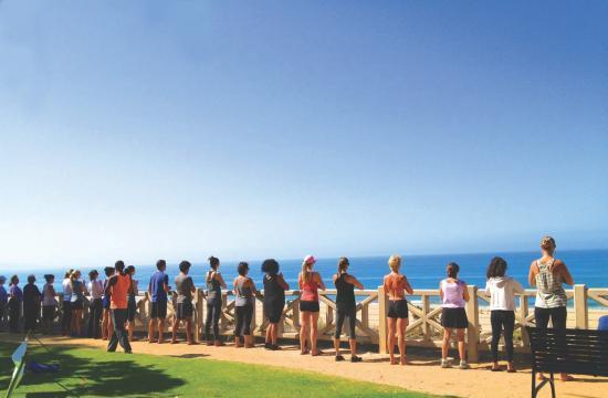 Naam Yoga's 'Beach Yoga' debuts at Palisades Park in Santa Monica.