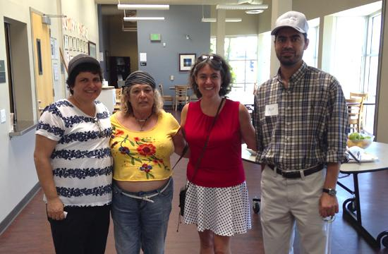 Ocean Park Community Center Daybreak client Norma (second from left) with Edmunds.com employees Evvy Mankowitz