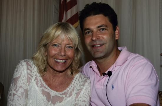 Rotary Club of Santa Monica guest speaker Ronen Olshansky (Cross Campus co-founder and CEO) with Rotary program chair Laurel Rosen (Santa Monica Chamber of Commerce CEO and President).