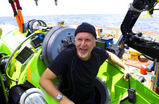 James Cameron in his Deep Sea Challenger sub that took him to the bottom of the Mariana Trench.