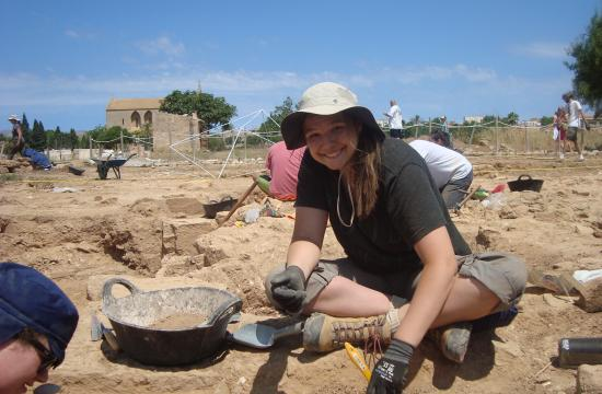Santa Monica High School student Cecilia Brine uncovers archaeological remains in Spain.