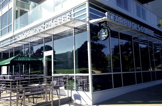 The new Starbucks at the corner of Main Street and Olympic Boulevard