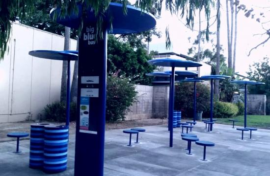 The high volume Big Blue Bus shelters at Santa Monica College.