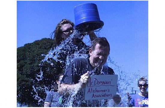 Mr. Donovan of Grant Elementary participates in the Grant Elementary School Charity Challenge on Sept. 12.
