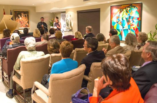 """The """"LACO à la carte"""" fundraiser events pair intimate musical performances with international cuisine at Consul General residences across the Westside. Pictured is the evening at the residence of the Consul General of Armenia in 2013."""