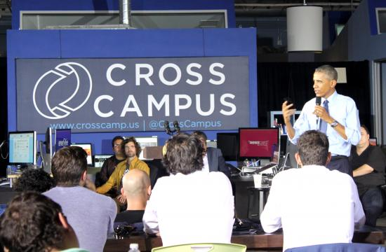 President Barack Obama spoke at Cross Campus in Santa Monica for over an hour on Thursday afternoon.